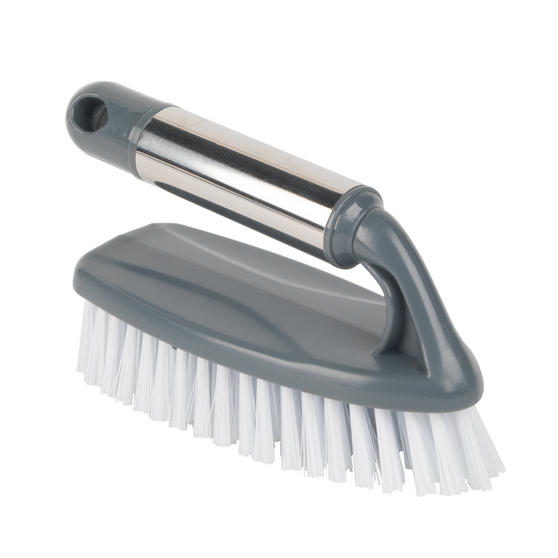 Beldray Household Scrubbing Brush for Tiles and Hard Floors with Handle, Grey Thumbnail 1