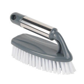 Beldray LA050274 Household Scrubbing Brush for Tiles and Hard Floors with Handle, Grey Thumbnail 1