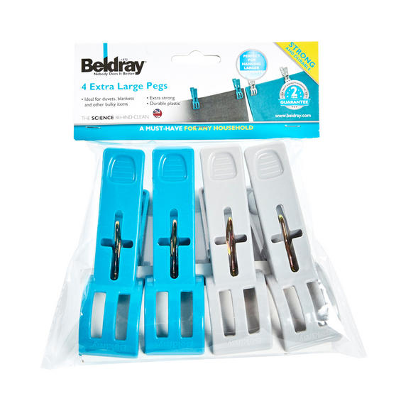 Beldray XL Extra Large Heavy Duty Clothes Pegs for Bulky Clothing, 4 Pack Thumbnail 2