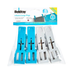 Beldray LA048974 XL Extra Large Heavy Duty Clothes Pegs for Bulky Clothing, 4 Pack Thumbnail 2