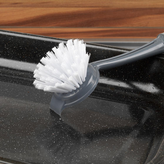 Beldray Kitchen Dish Brush Cleaner Scrubber with Built In Scraper, Grey Thumbnail 2