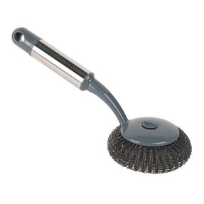 Beldray LA050335 Kitchen Steel Wire Scourer Sponge Brush with Handle for Ovens and BBQs, Grey Thumbnail 1