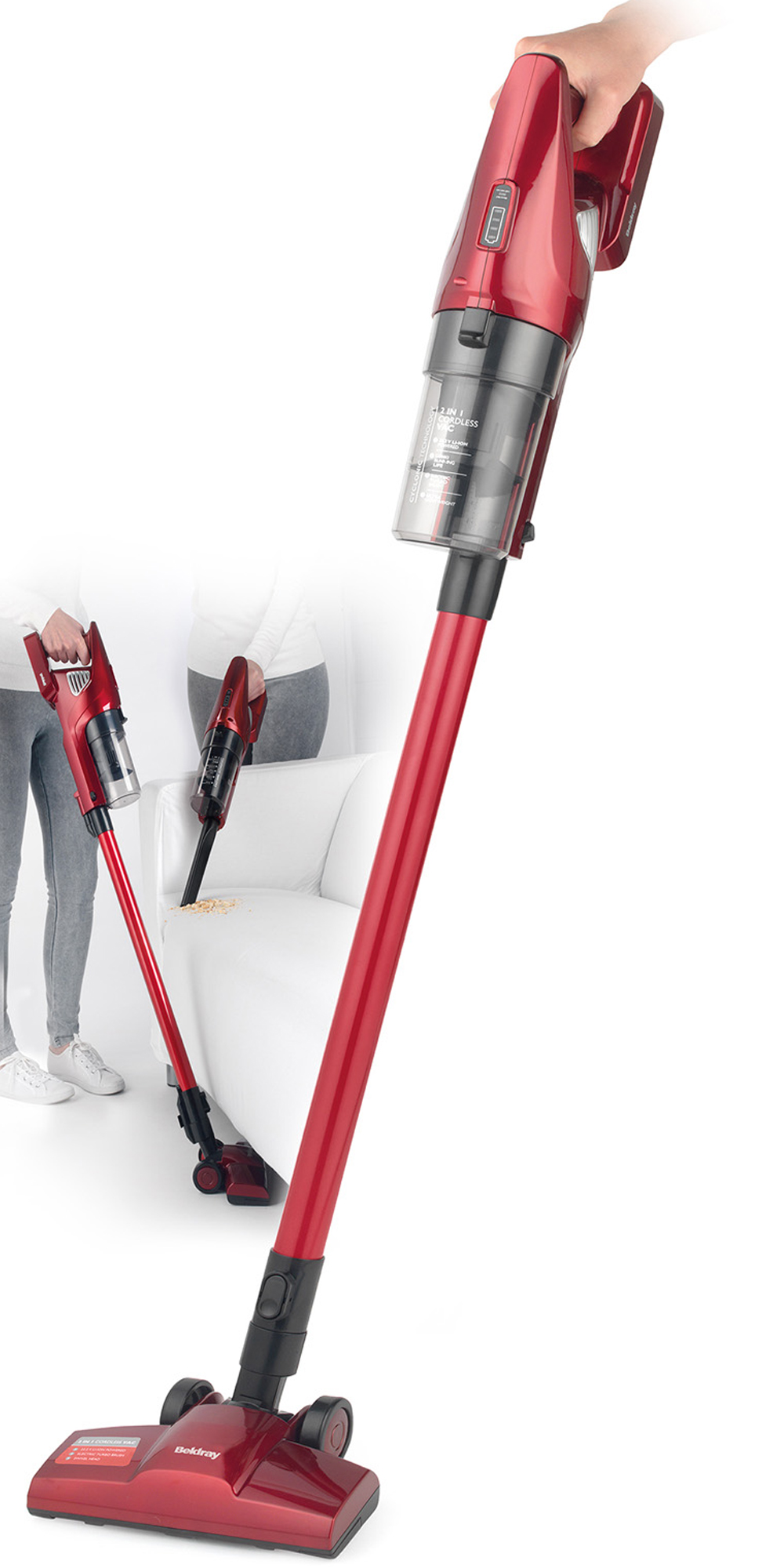 beldray 2 in 1 cordless lightweight handheld stick vacuum cleaner 22 2v red beldray. Black Bedroom Furniture Sets. Home Design Ideas