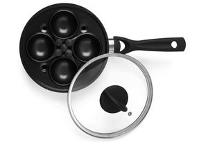 Progress BW05522 Complete Egg 4 Cup Poacher Non-Stick Poaching Pan, 20 cm, Black Thumbnail 2