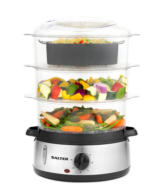 Salter Healthy Cooking 3-Tier Food Rice Meat Vegetable Steamer, 9 Litre, 800 W, Stainless Steel