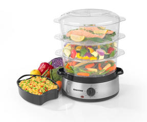 Salter Healthy Cooking 3-Tier Food Rice Meat Vegetable Steamer, 9 Litre, 800 W, Stainless Steel Thumbnail 5