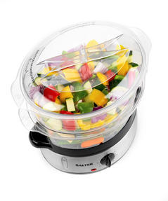 Salter Healthy Cooking 3-Tier Food Rice Meat Vegetable Steamer, 9 Litre, 800 W, Stainless Steel Thumbnail 3
