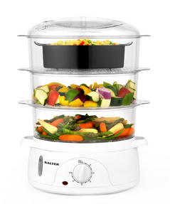 Salter Healthy Cooking 3-Tier Food Rice Meat Vegetable Steamer, 9 Litre, 800 W, Plastic Thumbnail 1