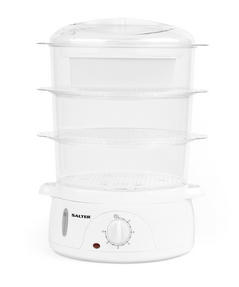 Salter Healthy Cooking 3-Tier Food Rice Meat Vegetable Steamer, 9 Litre, 800 W, Plastic Thumbnail 4