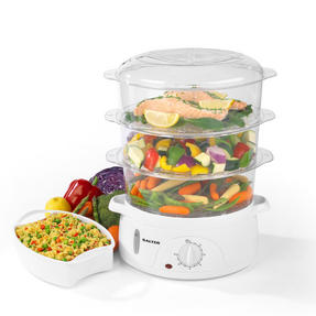 Salter Healthy Cooking 3-Tier Food Rice Meat Vegetable Steamer, 9 Litre, 800 W, Plastic Thumbnail 3