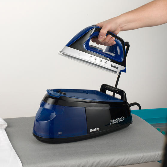 Beldray Steam Surge Pro Iron with Vertical Steaming, 1.2 L, 2400 W, Blue Main Image 7