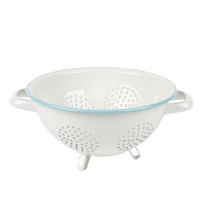 Salter Enamel Coated Footed Colander, Cream/Blue Thumbnail 1