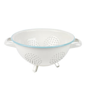 Salter Enamel Coated Footed Colander, Cream/Blue Thumbnail 4