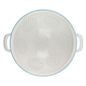 Salter Enamel Coated Footed Colander, Cream/Blue Thumbnail 3