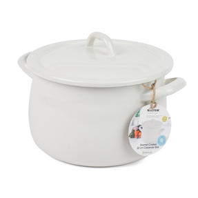 Salter Enamel Coated Casserole Pan, 22cm, Cream/Blue Thumbnail 1