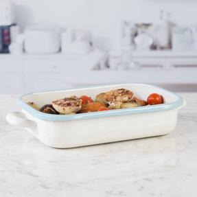 Salter Enamel Coated Roasting Tin, 26cm, Cream/Blue Thumbnail 5