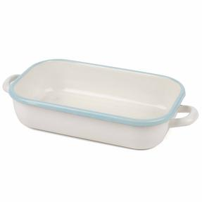 Salter Enamel Coated Roasting Tin, 26cm, Cream/Blue Thumbnail 4