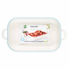Salter Enamel Coated Roasting Tin, 26cm, Cream/Blue Thumbnail 3