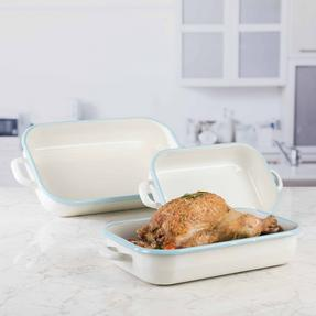 Salter Enamel Coated Roasting Tin, 32cm, Cream/Blue Thumbnail 1