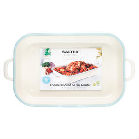 Salter Enamel Coated Roasting Tin, 36cm, Cream/Blue