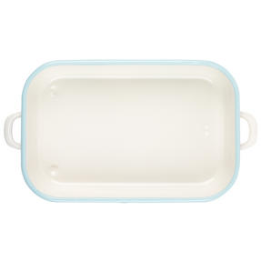 Salter Enamel Coated Roasting Tin, 36cm, Cream/Blue Thumbnail 3