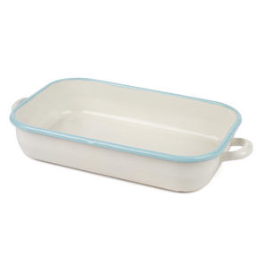 Salter Enamel Coated Roasting Tin, 36cm, Cream/Blue Thumbnail 2