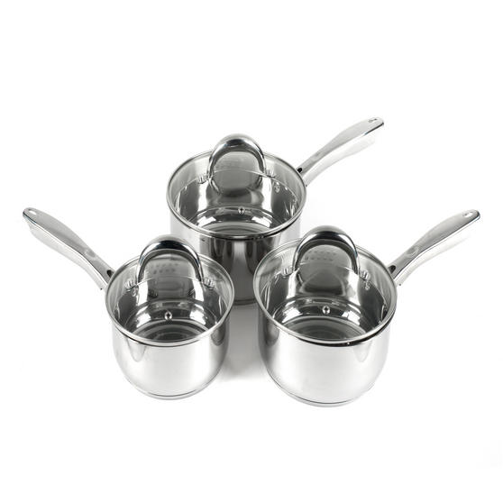 Russell Hobbs RH00152 Optimum Collection Stainless Steel 3 Piece Pan Set, 16, 18, 20 cm