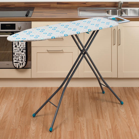 Beldray Retro Ironing Board, 137 x 38 cm, Floral Print, Blue Thumbnail 3