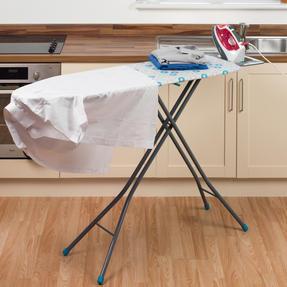 Beldray LA024398RET Retro Ironing Board, 137 x 38 cm, Floral Print, Blue Thumbnail 5