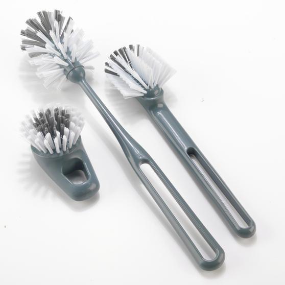 Beldray Kitchen Dish and Glass Cleaning Brush Set, Set of 3, Grey / White Thumbnail 1