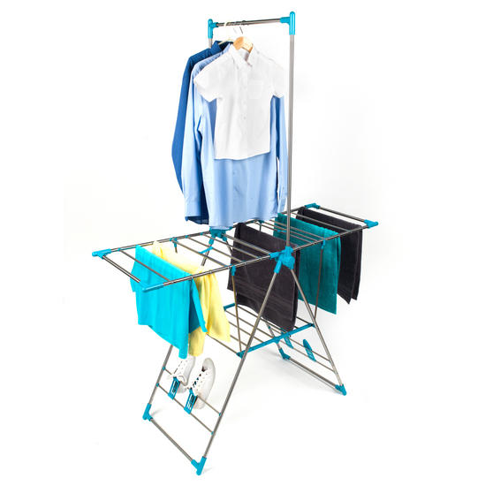 Beldray Large Stainless Steel Clothes Horse Airer with High Hanger, Grey / Blue Thumbnail 1