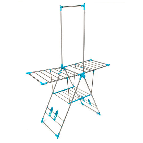 Beldray Large Stainless Steel Clothes Horse Airer with High Hanger, Grey / Blue Thumbnail 2