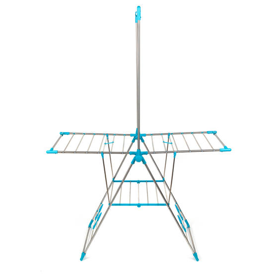 Beldray Large Stainless Steel Clothes Horse Airer with High Hanger, Grey / Blue Thumbnail 3