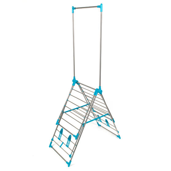 Beldray Large Stainless Steel Clothes Horse Airer with High Hanger, Grey / Blue Thumbnail 4