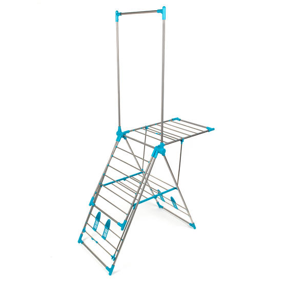 Beldray Large Stainless Steel Clothes Horse Airer with High Hanger, Grey / Blue Thumbnail 5