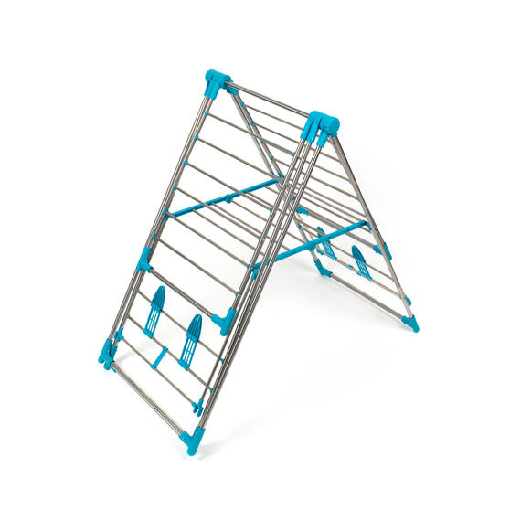 Beldray Large Stainless Steel Clothes Horse Airer with High Hanger, Grey / Blue Thumbnail 6