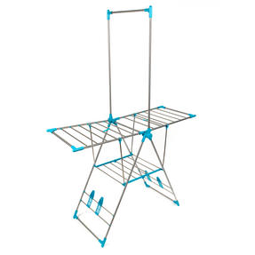 Beldray LA052094 Large Stainless Steel Clothes Horse Airer with High Hanger, Grey / Blue Thumbnail 2