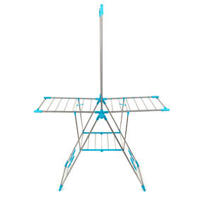 Beldray LA052094 Large Stainless Steel Clothes Horse Airer with High Hanger, Grey / Blue Thumbnail 3