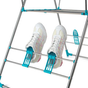 Beldray LA052094 Large Stainless Steel Clothes Horse Airer with High Hanger, Grey / Blue Thumbnail 7