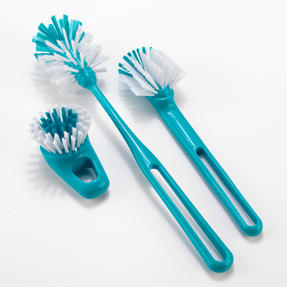 Beldray LA049056TURQ Kitchen Dish and Glass Cleaning Brush Set, Set of 3, Turquoise / White