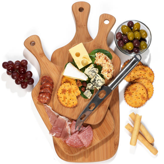 Salter BW06732 Bamboo Paddle Chopping Board Set