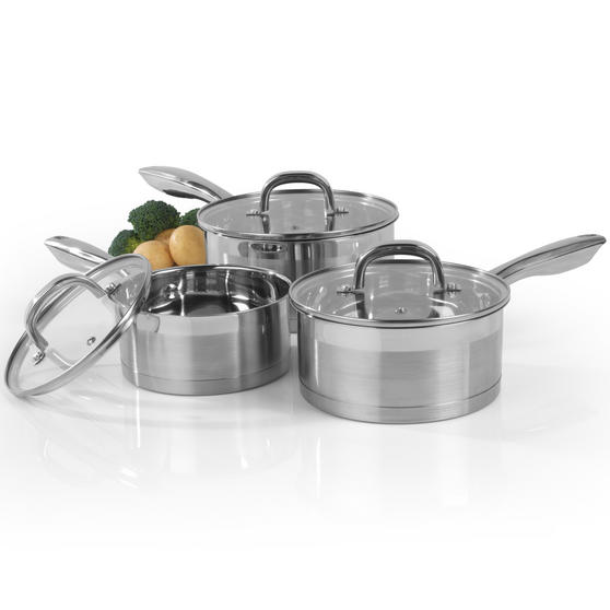 Salter Timeless Collection Stainless Steel 3 Piece Saucepan Set