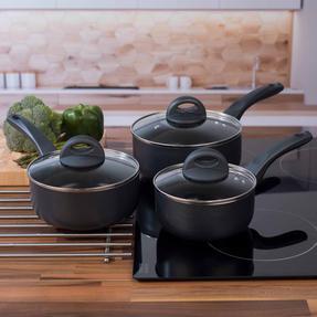 Russell Hobbs RH00093G 3 Piece Ceramic Saucepan Set, 16/18/20 cm, Grey Thumbnail 7