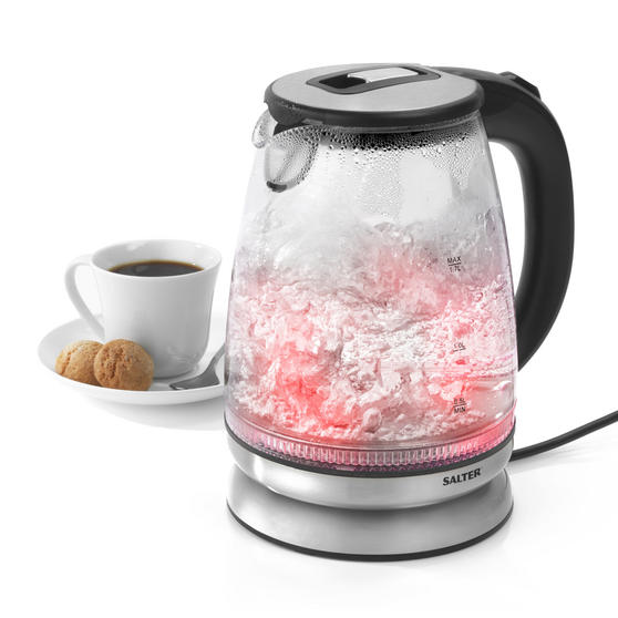 Salter EK2841SS Colour Changing Glass Kettle with LED Illumination, 1.7 Litre, 2200W