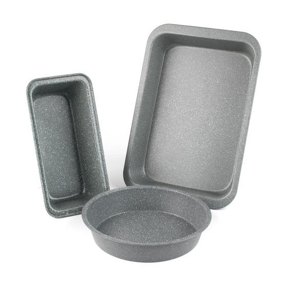 Salter Marble Collection Carbon Steel Roasting Tray, Loaf Tin and Round Baking Tray, 3 Piece