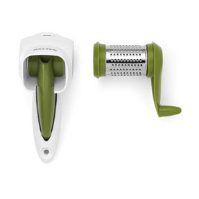 Salter Rotary Cheese Grater and Food Press Chopper Set, White / Green Thumbnail 6
