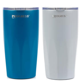 Progress BW05855 Thermal Insulated Travel Cup Tumbler with Lid, Set of 2, 550 ml, Blue & Grey Thumbnail 8