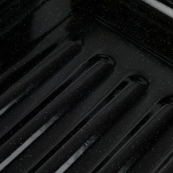 Russell Hobbs COMBO-2132 Romano Vitreous Enamel Deep Roaster and Baking Tray Set, 42/40 cm, Black