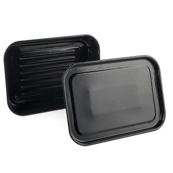 Russell Hobbs Romano Vitreous Enamel Deep Roaster and Baking Tray Set, 42 cm / 40 cm, Black
