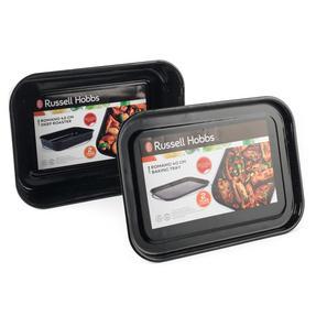 Russell Hobbs COMBO-2132 Romano Vitreous Enamel Deep Roaster and Baking Tray Set, 42/40 cm, Black Thumbnail 4